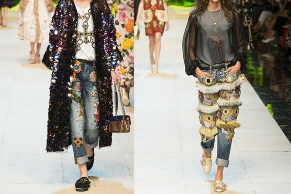 D&G embroidered jeans