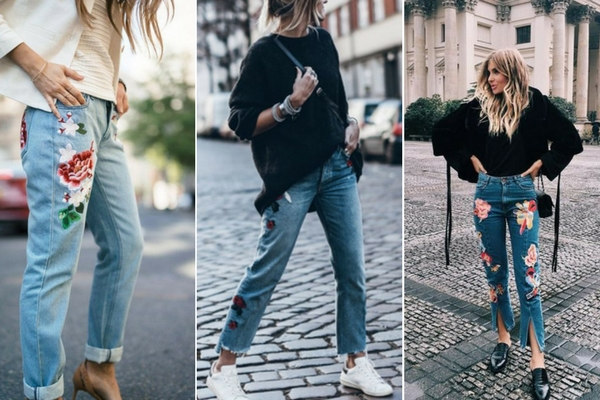 Embroidered jeans outfits